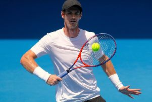 Britain's Andy Murray hits a shot during a training session ahead of the Australian Open. Picture: AFP/Getty Images