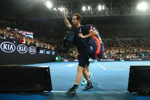 Andy Murray thanks the crowd after losing his first round match against Roberto Bautista Agut. Picture: Getty