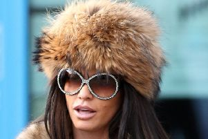 Katie Price leaves Crawley Magistrates' Court after she was banned from driving for three months and fined �1,100 for driving while disqualified and without insurance on the A24 near her home in West Sussex. Picture: Andrew Matthews/PA Wire