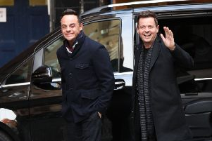 A smiling Anthony McPartlin (left) and Declan Donnelly arrive at Britain's Got Talent auditions at the London Palladium. Picture: PA