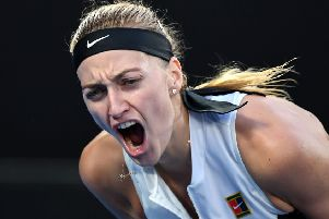 Czech Republic's Petra Kvitova reacts during the win over Australia's Ashleigh Barty. Picture: William West/AFP/Getty Images