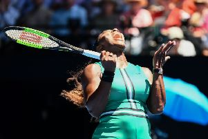 Serena Williams shows her frustration after losing a point against Karolina Pliskova during their quarter-final match. Picture: Jewel Samad/AFP/Getty