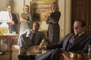 A still from Vice, with Christian Bale as Dick Cheney (right) and Amy Adams as his wife, Lynne (second right)
