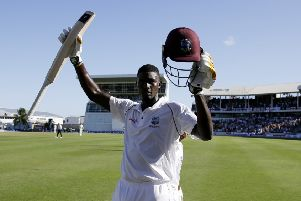 West Indies captain Jason Holder celebrates his double century against England. Picture: Ricardo Mazalan/AP