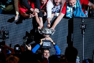 Novak Djokovic with the trophy after defeating Rafael Nadal in the final of the Australian Open. Picture: AFP/Getty Images