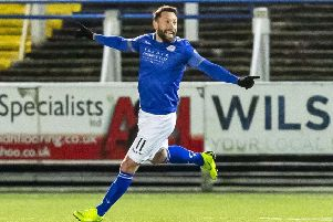 Stephen Dobbie celebrates after scoring to make it 2-0. Picture: Roddy Scott/SNS