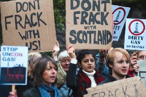 Environmental protestors outside the SNP party conference at Perth Concert Hall. Picture: Maverick Photo Agency