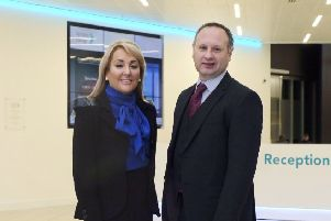 The Halo founder and executive chair Marie Macklin with Barclays' Stuart Brown. Picture: Contributed