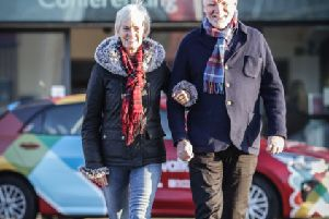 Judy Murray joins Sir Tom Hunter and other Kiltwalk staff in Glasgow. Picture: Elaine Livingston