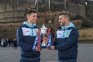 East Fife's Jonny Court and Scott Linton with the Irn Bru Challenge Cup. Pic: SNS/Bill Murray