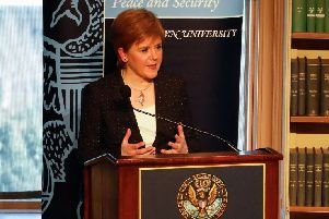 Nicola Sturgeon spekaing at Georgetown University on Monday. Picture: Scottish Government