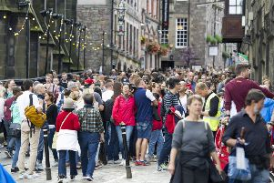 Tourists on the Royal Mile. Picture: Ian Rutherford