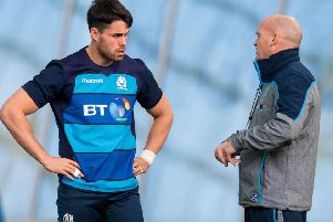 Gregor Townsend, right, talks to Sean Maitland, who has been restored to the starting XV. Picture: SNS Group