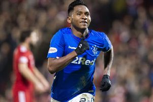 The physical side of football is a big part of Alfredo Morelos' game. Picture: SNS.