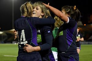 Scotland celebrate Hannah Smith's try. Picture: