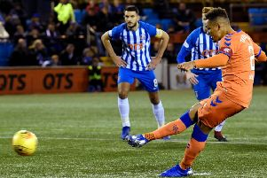 Rangers' James Tavernier's penalty is saved by Kilmarnock goalkeeper Daniel Bachman. Pic: SNS/Rob Casey