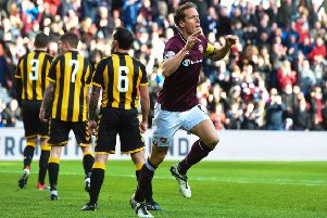 Christophe Berra celebrates netting the opener. Picture: SNS Group