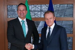 Irish Prime Minister Leo Varadkar (L) shakes hands with European Council President Donald Tusk. Pic: Francisco Seco/AFP/Getty Images