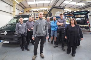 Poole and team, which completed a record 55 bespoke vehicles in 2018. Picture: contributed.