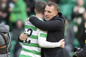 Brendan Rodgers and Callum McGregor at the final whistle after Celtic's 5-0 win over St Johnstone.