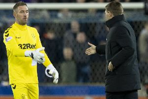 Rangers' Allan McGregor shakes hands with manager Steven Gerrard. Picture: SNS/Craig Williamson