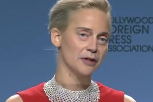 A screenshot of a deepfake video ' in which Steve Buscemi's face speaks with Jennifer Lawrence's voice on her body ' that was designed to show how convincing the footage can be