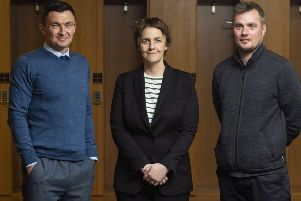 Chief executive Leeann Dempster is delighted to have secured the services of Paul Heckingbottom, left, and assistant Robbie Stockdale