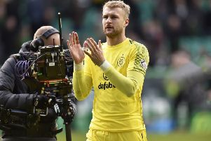 Scott Bain applauds the Celtic fans following the win over St Johnstone.