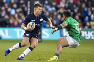 Huw Jones in action for Scotland against Ireland at BT Murrayfield. Picture: SNS Group