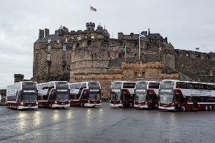 Lothian buses held a launch of their new larger buses at Edinburgh Castle'. Pic: Wullie Marr Photography