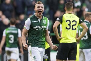 Ryan Porteous celebrates after Hibs defeat Celtic in mid-December. Picture: SNS