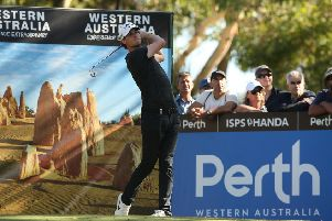 Big-hitting Belgian is among four players sharing the lead after two rounds in the ISPS Handa World Super 6 Perth event. Picture: Getty Images