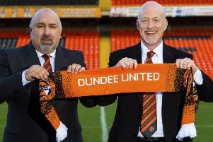 Dundee United sporting director Tony Asghar alongside Tannadice chairman Mark Ogren. Picture: Ross MacDonald/SNS