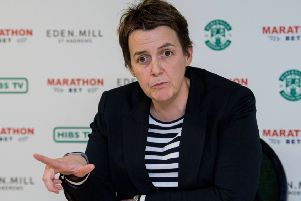 Hibernian chief executive Leeann Dempster speaks to the press at the unveiling of new manager Paul Heckingbottom. Picture: Ross Parker/SNS