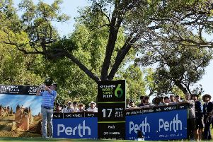 Bob MacIntyre tees off at the 17th in the third round at Lake Karrinyup in Western Australia. Picture: Getty Images