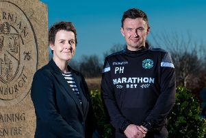 Hibernian's new manager, Paul Heckingbottom, alongside chief executive Leeann Dempster. Pic: SNS/Ross Parker