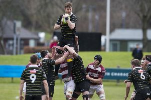 Melrose's Iain Moody takes a line out. Pic: SNS/SRU/Bruce White