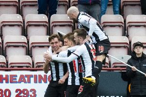 Dunfermline's Joe Thompson celebrates his goal. Pic: SNS/Ross Parker