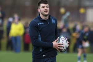 Blair Kinghorn takes part in a Scotland training session at Clydebank Community Hub. Picture: SNS Group