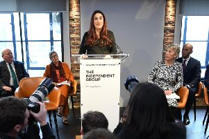 Labour MP Luciana Berger who has announced her resignation during a press conference at County Hall in Westminster, London where a group of seven Labour MPs, including Chris Leslie, Chuka Umunna, Gavin Shuker, Angela Smith and Mike Gapes and Ann Coffey (not present) announced their resignation from the party.