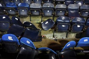 A general view of the away stand at Rugby Park at full-time. Picture: SNS Group