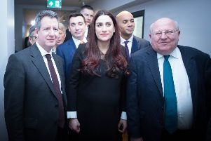 MPs (left to right) Chris Leslie (Ann Coffey, Angela Smith, (both hidden left), Gavin Shuker, Luciana Berger, Chuka Umunna and Mike Gapes, after they announced their resignations from Labour
