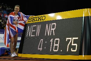 Laura Muir after setting her new British indoor mile record. Picture: Michael Steele/Getty Images