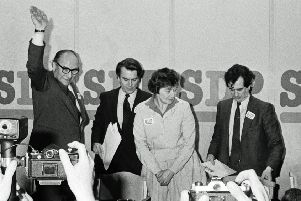 Roy Jenkins, Dr David Owen, Shirley Williams and Bill Rodgers after the breakfast-time launch of the new Social Democratic Party at the Connaught Rooms in London in 1981. Picture: PA