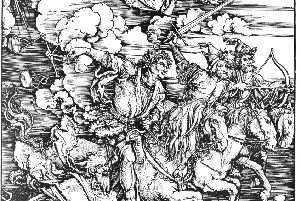 Albrecht Durer (1471-1528) Four Horsemen of the Apocalypse, Woodcuted print, 1498. PIC: Darko Veselinovi