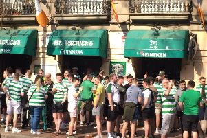 Celtic fans outside St Patrick's bar in Valencia where police are alleged to have attacked supporters with batons, riot shields and rubber bullet. Picture: PA
