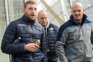 Finn Russell, left, with Scotland head coach Gregor Townsend. Picture: SNS