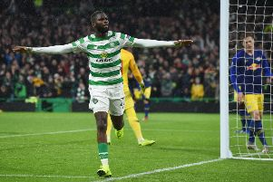 Celtic's Odsonne Edouard celebrates after scoring the winning goal against RB Leipzig. Picture: SNS