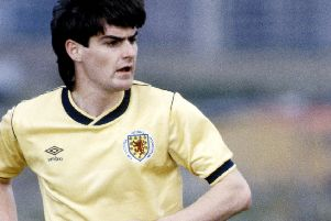 Steve Clarke in action for Scotland U21s in 1985. Picture: SNS