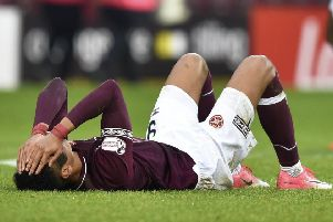 Hearts' Sean Clare was dejected at full-time. Pic: SNS/Rob Casey